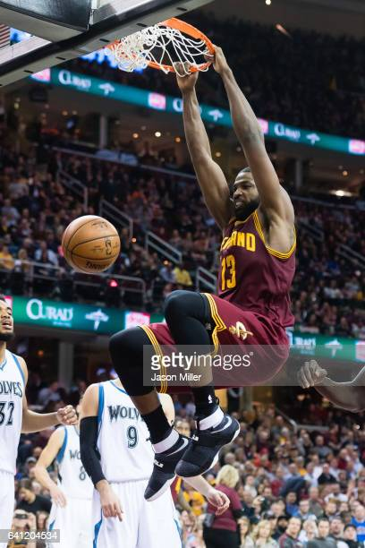 Tristan Thompson of the Cleveland Cavaliers dunks during the second half against the Minnesota Timberwolves at Quicken Loans Arena on February 1 2017...