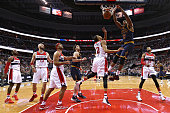 Tristan Thompson of the Cleveland Cavaliers dunks in front of Otto Porter Jr #22 of the Washington Wizards and teammates during the second half at...