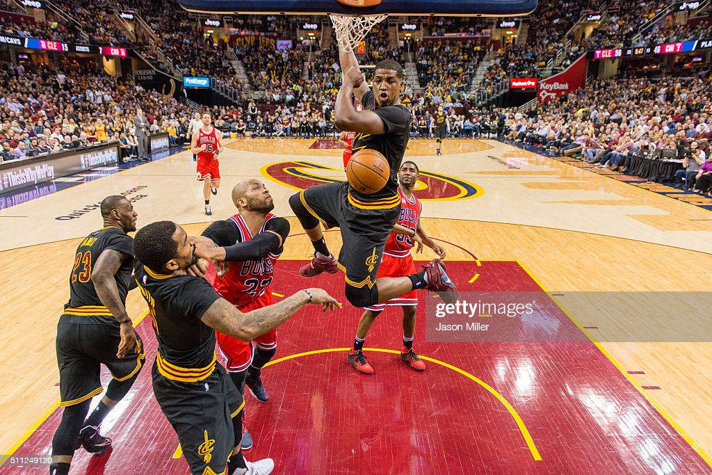 <a gi-track='captionPersonalityLinkClicked' href=/galleries/search?phrase=Tristan+Thompson&family=editorial&specificpeople=5799092 ng-click='$event.stopPropagation()'>Tristan Thompson</a> #13 of the Cleveland Cavaliers dunks over <a gi-track='captionPersonalityLinkClicked' href=/galleries/search?phrase=E%27Twaun+Moore&family=editorial&specificpeople=4877476 ng-click='$event.stopPropagation()'>E'Twaun Moore</a> #55 of the Chicago Bulls during the second half at Quicken Loans Arena on February 18, 2016 in Cleveland, Ohio. The Cavaliers defeated the 106-95.