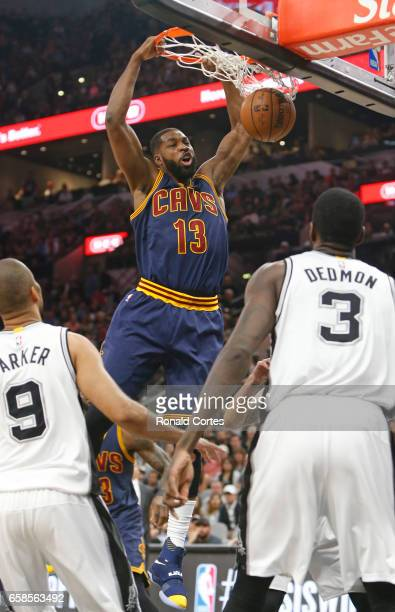 Tristan Thompson of the Cleveland Cavaliers dunks over the San Antonio Spurs at ATT Center on March 27 2017 in San Antonio Texas NOTE TO USER User...