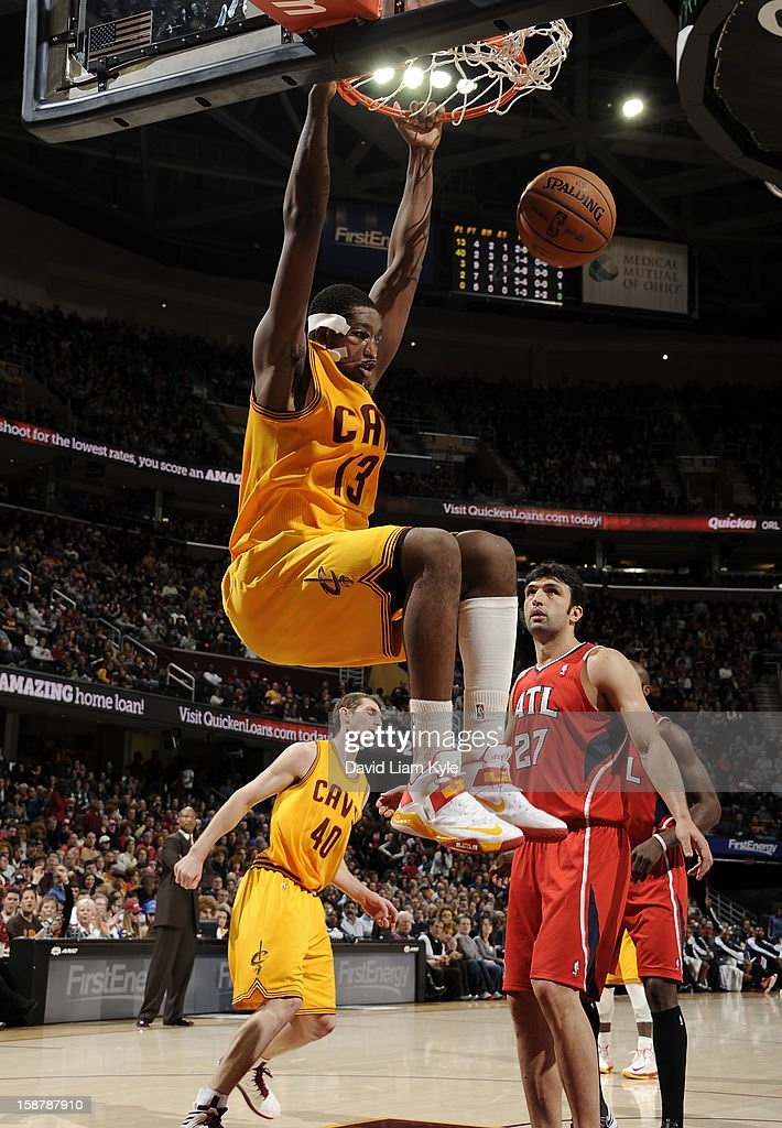 Tristan Thompson #13 of the Cleveland Cavaliers dunks the ball against the Atlanta Hawks at The Quicken Loans Arena on December 28, 2012 in Cleveland, Ohio.