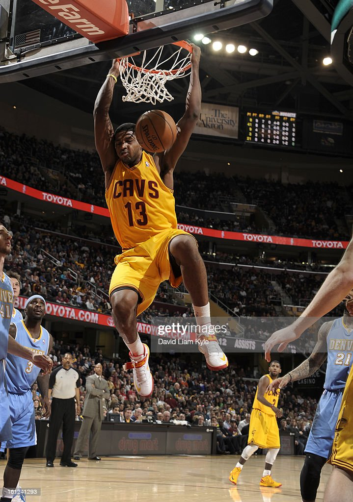 Tristan Thompson #13 of the Cleveland Cavaliers dunks the ball against the Denver Nuggets at The Quicken Loans Arena on February 9, 2013 in Cleveland, Ohio.