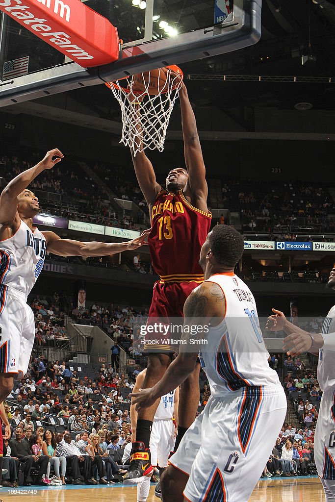 Tristan Thompson #13 of the Cleveland Cavaliers dunks the ball against the Charlotte Bobcats at the Time Warner Cable Arena on April 17, 2013 in Charlotte, North Carolina.