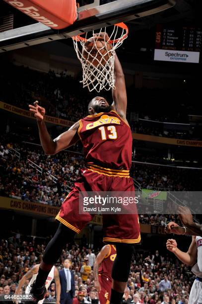 Tristan Thompson of the Cleveland Cavaliers dunks the ball against the New York Knicks on February 23 2017 at Quicken Loans Arena in Cleveland Ohio...