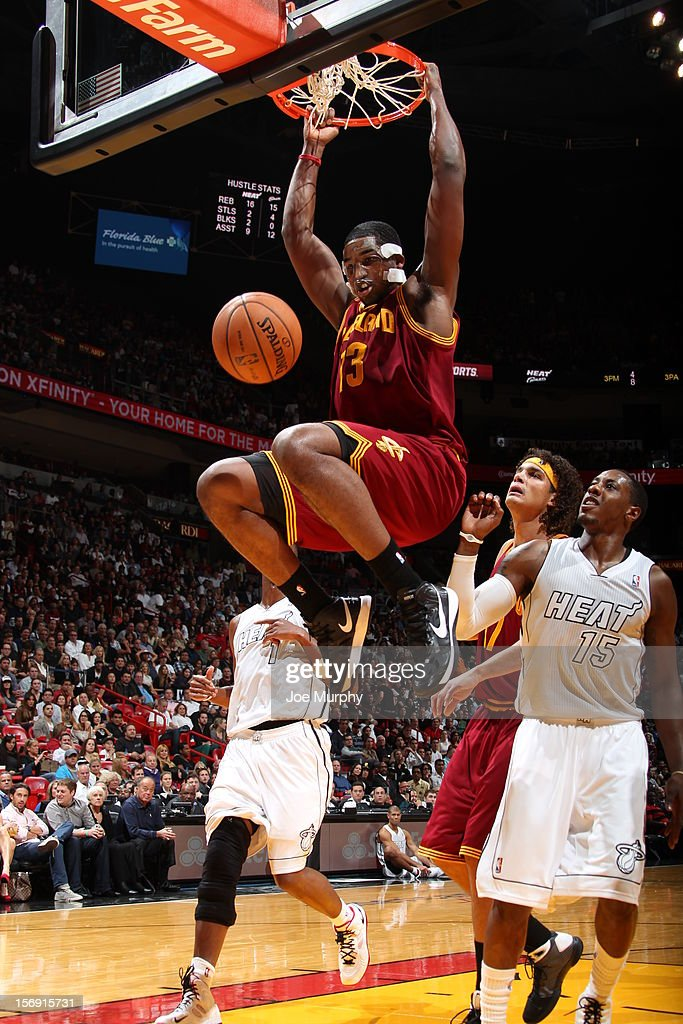 Tristan Thompson #13 of the Cleveland Cavaliers dunks the ball during a game between the Cleveland Cavaliers and the Miami Heat on November 24, 2012 at American Airlines Arena in Miami, Florida.
