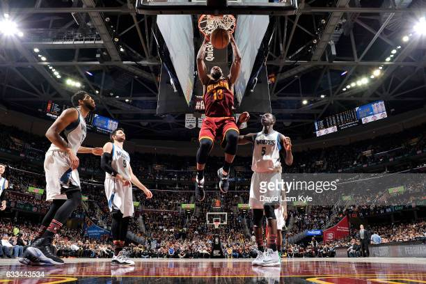 Tristan Thompson of the Cleveland Cavaliers dunks the ball during the game against the Minnesota Timberwolves on February 1 2017 at Quicken Loans...