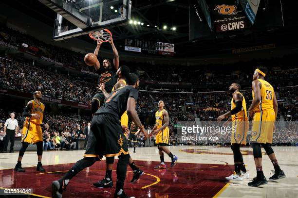 Tristan Thompson of the Cleveland Cavaliers dunks the ball during the game against the Indiana Pacers on February 15 2017 at Quicken Loans Arena in...