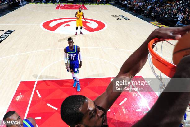 Tristan Thompson of the Cleveland Cavaliers dunks the ball during the game against the Atlanta Hawks on March 3 2017 at Philips Arena in Atlanta...
