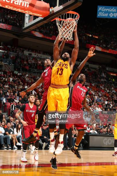 Tristan Thompson of the Cleveland Cavaliers dunks the ball during the game against the Miami Heat on March 4 2017 at AmericanAirlines Arena in Miami...