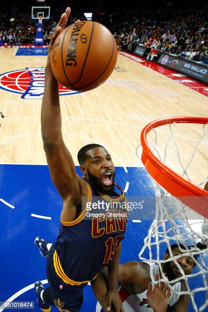 Tristan Thompson of the Cleveland Cavaliers gets in second half dunk next to Andre Drummond of the Detroit Pistons at the Palace of Auburn Hills on...