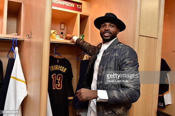 Tristan Thompson of the Cleveland Cavaliers gets ready before the game against the New York Knicks on October 25 2016 at Quicken Loans Arena in...