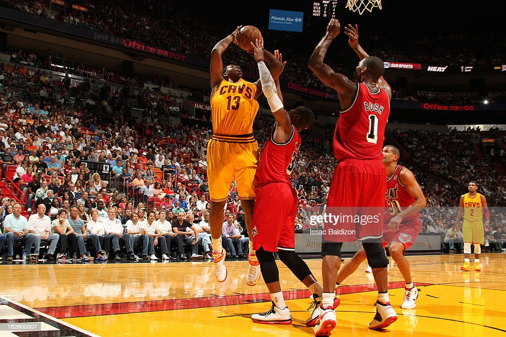 <a gi-track='captionPersonalityLinkClicked' href=/galleries/search?phrase=Tristan+Thompson&family=editorial&specificpeople=5799092 ng-click='$event.stopPropagation()'>Tristan Thompson</a> #13 of the Cleveland Cavaliers goes to the basket during a game between the Cleveland Cavaliers and the Miami Heat on February 24, 2013 at American Airlines Arena in Miami, Florida.