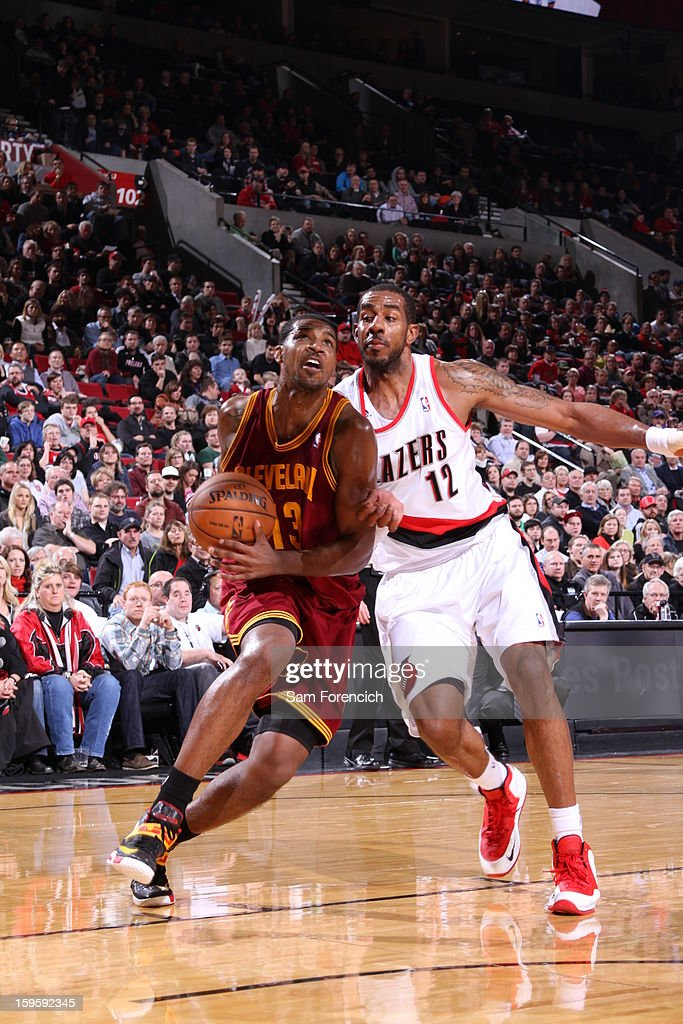 Tristan Thompson #13 of the Cleveland Cavaliers goes to the basket against LaMarcus Aldridge #12 of the Portland Trail Blazers on January 16, 2013 at the Rose Garden Arena in Portland, Oregon.