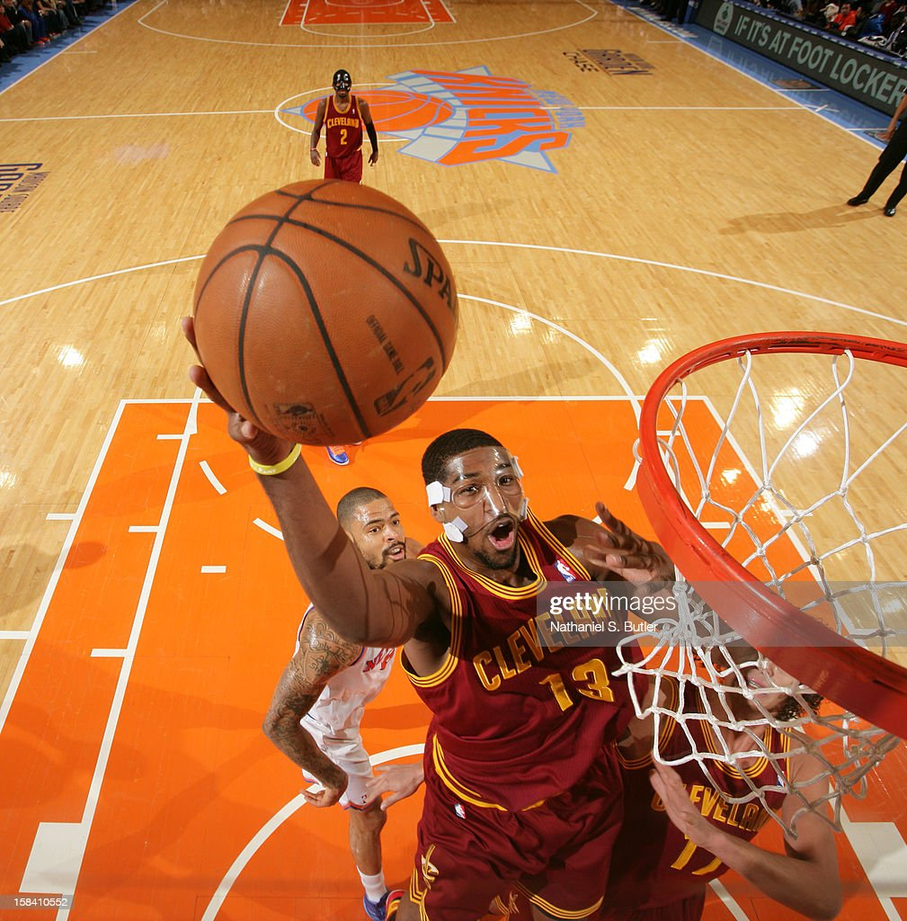 Tristan Thompson #13 of the Cleveland Cavaliers goes to the basket against the New York Knicks during game on December 15, 2012 at Madison Square Garden in New York City.