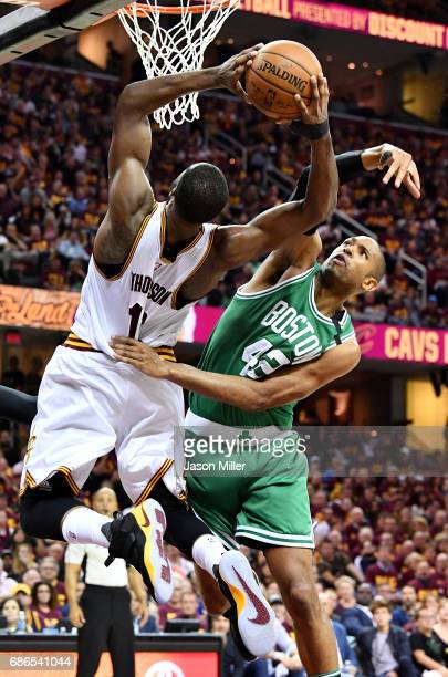 Tristan Thompson of the Cleveland Cavaliers goes up against Al Horford of the Boston Celtics in the second half during Game Three of the 2017 NBA...