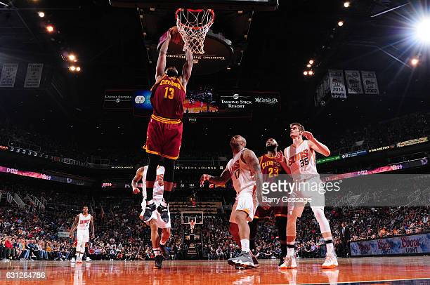 Tristan Thompson of the Cleveland Cavaliers goes up for a dunk against the Phoenix Suns on January 8 2017 at Talking Stick Resort Arena in Phoenix...