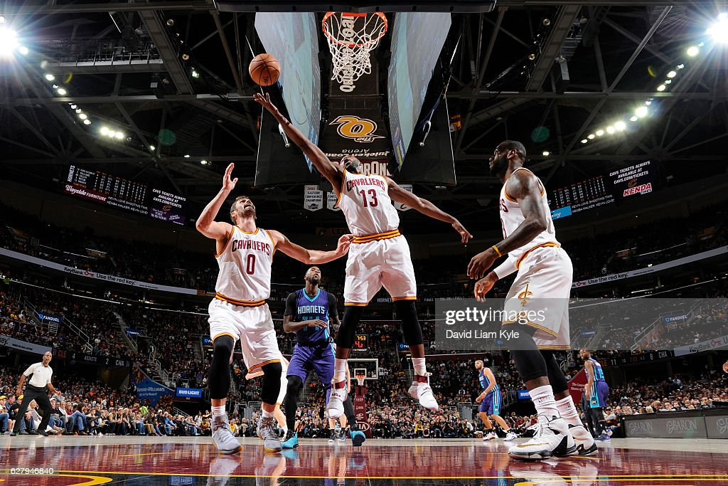 Tristan Thompson #13 of the Cleveland Cavaliers goes up for a rebound against the Charlotte Hornets on November 13, 2016 at Quicken Loans Arena in Cleveland, Ohio.