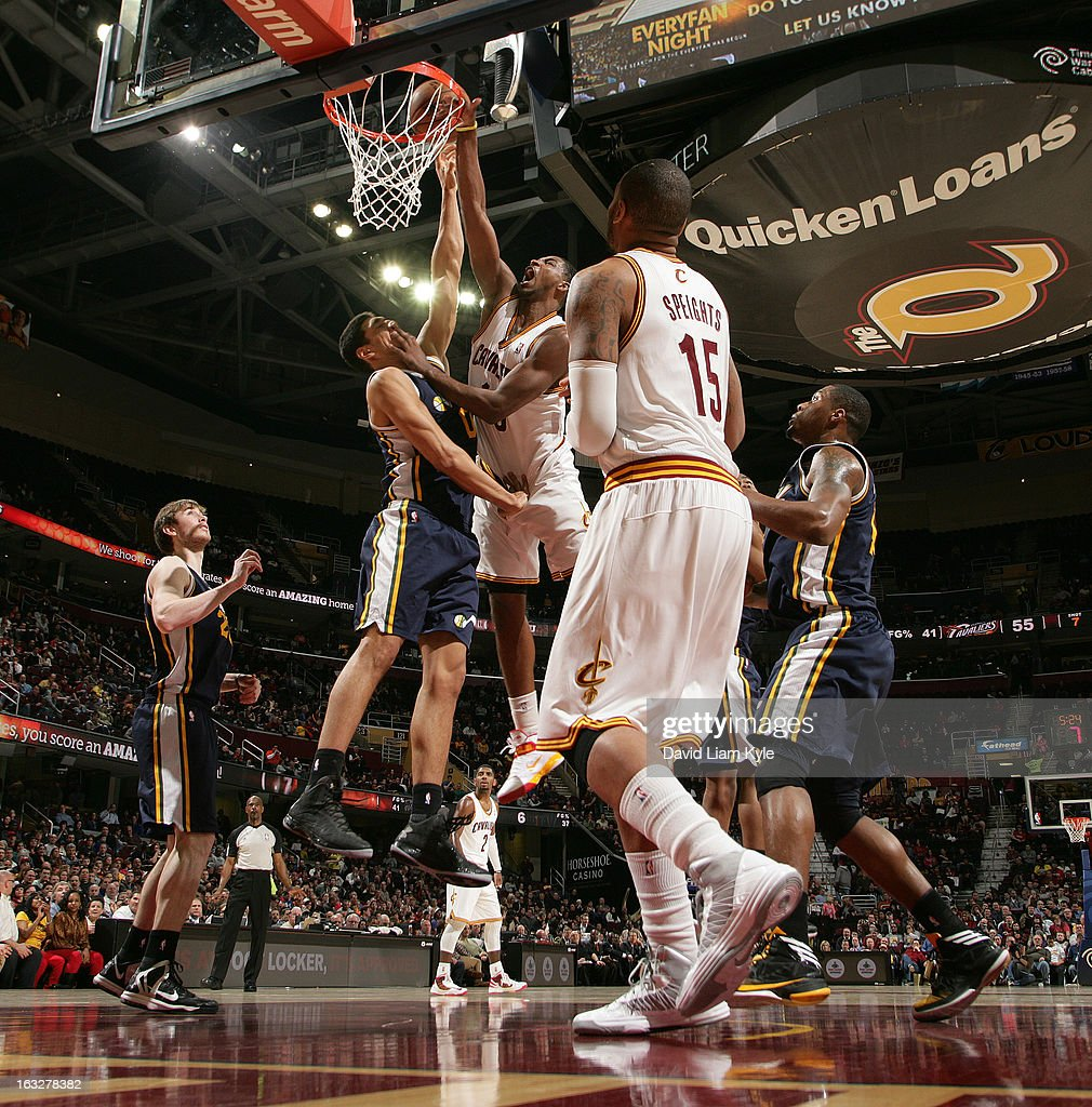 Tristan Thompson #13 of the Cleveland Cavaliers goes up for the dunk against Enes Kanter #0 of the Utah Jazz at The Quicken Loans Arena on March 6, 2013 in Cleveland, Ohio.
