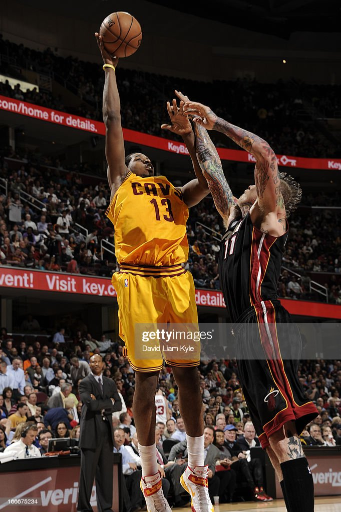 Tristan Thompson #13 of the Cleveland Cavaliers goes up for the shot against Chris Andersen #11 of the Miami Heat at The Quicken Loans Arena on April 15, 2013 in Cleveland, Ohio.