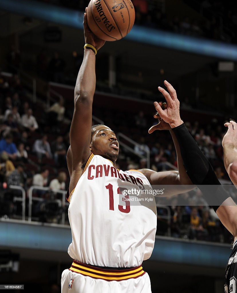 Tristan Thompson #13 of the Cleveland Cavaliers goes up for the shot against the San Antonio Spurs at The Quicken Loans Arena on February 13, 2013 in Cleveland, Ohio.