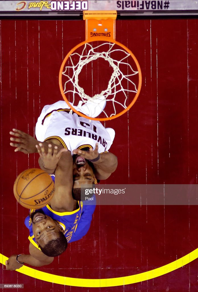 Tristan Thompson #13 of the Cleveland Cavaliers goes up with the ball against Kevin Durant #35 of the Golden State Warriors in the first half in Game 3 of the 2017 NBA Finals at Quicken Loans Arena on June 7, 2017 in Cleveland, Ohio.