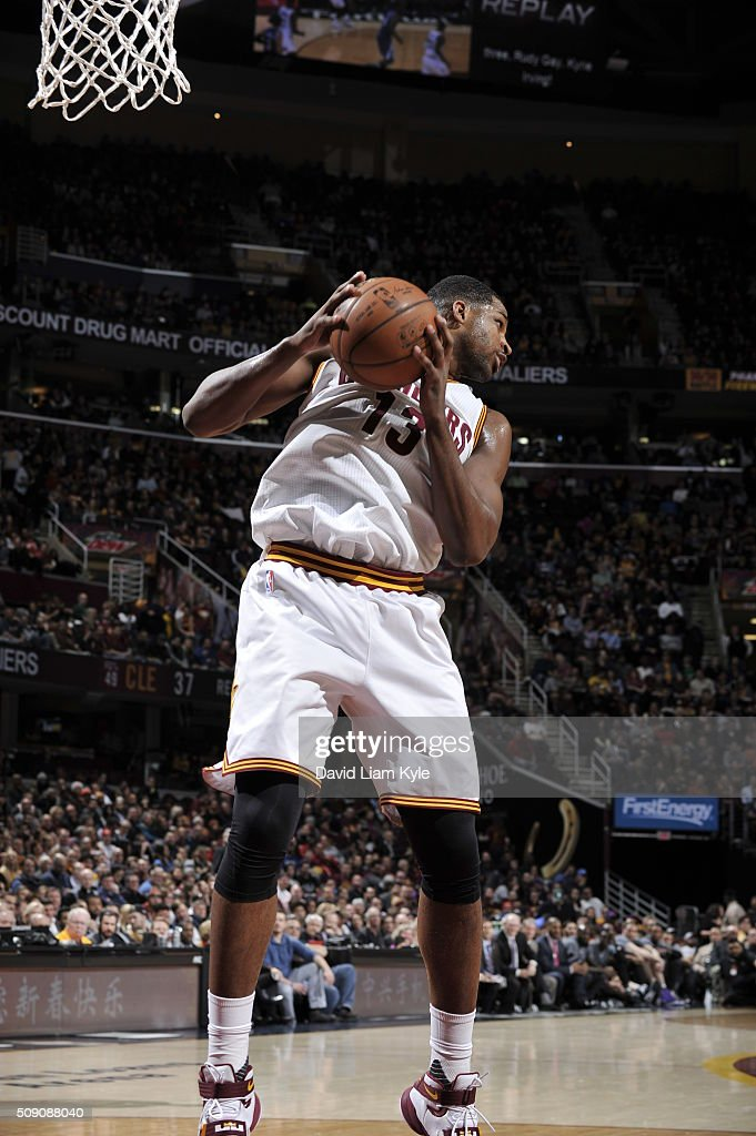 <a gi-track='captionPersonalityLinkClicked' href=/galleries/search?phrase=Tristan+Thompson&family=editorial&specificpeople=5799092 ng-click='$event.stopPropagation()'>Tristan Thompson</a> #13 of the Cleveland Cavaliers grabs the rebound against the Sacramento Kings on February 8, 2016 at Quicken Loans Arena in Cleveland, Ohio.