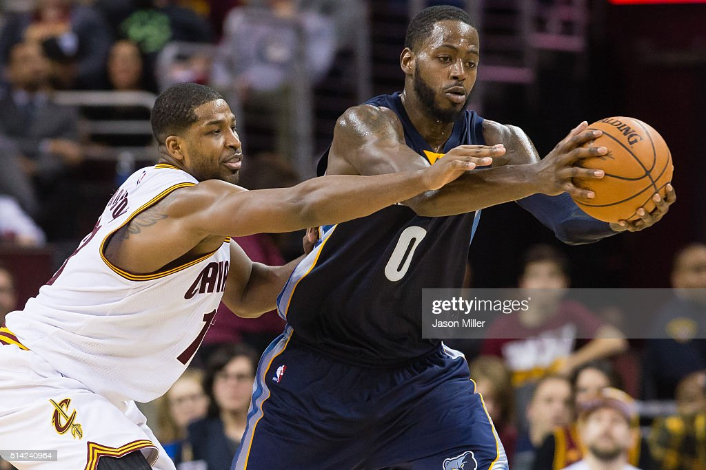 Tristan Thompson of the Cleveland Cavaliers guards JaMychal Green of the Memphis Grizzlies during the second half at Quicken Loans Arena on March 7...