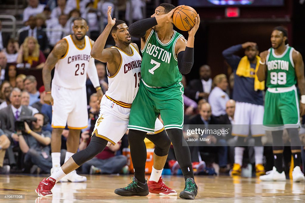 Tristan Thompson of the Cleveland Cavaliers guards Jared Sullinger of the Boston Celtics in the first half in Game Two of the Eastern Conference...