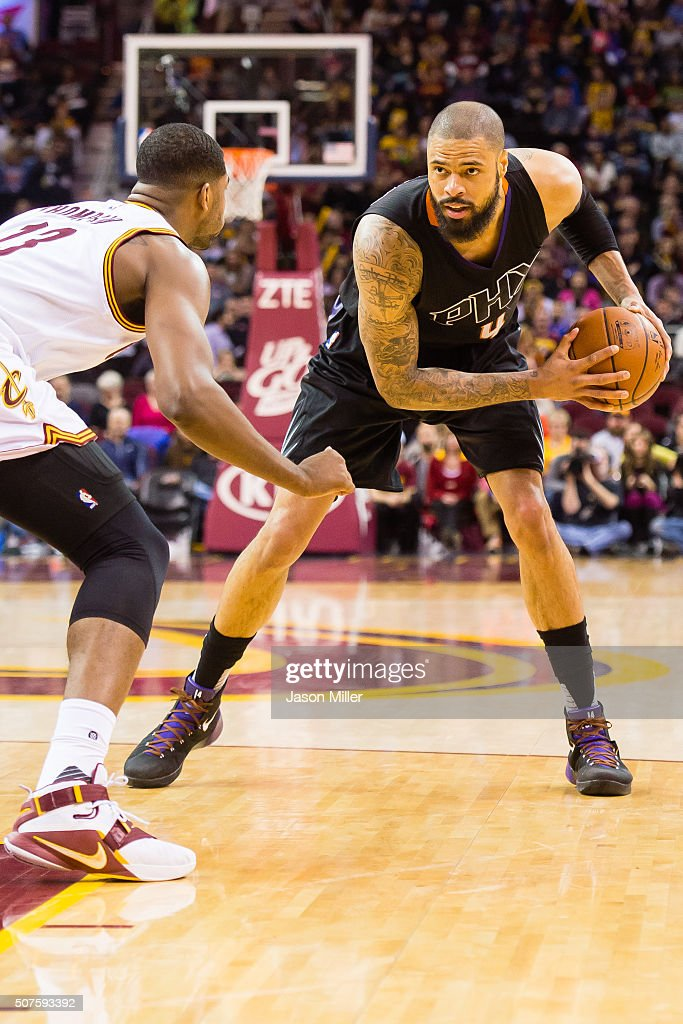 Tristan Thompson of the Cleveland Cavaliers guards Tyson Chandler of the Phoenix Suns during the second half at Quicken Loans Arena on January 27...
