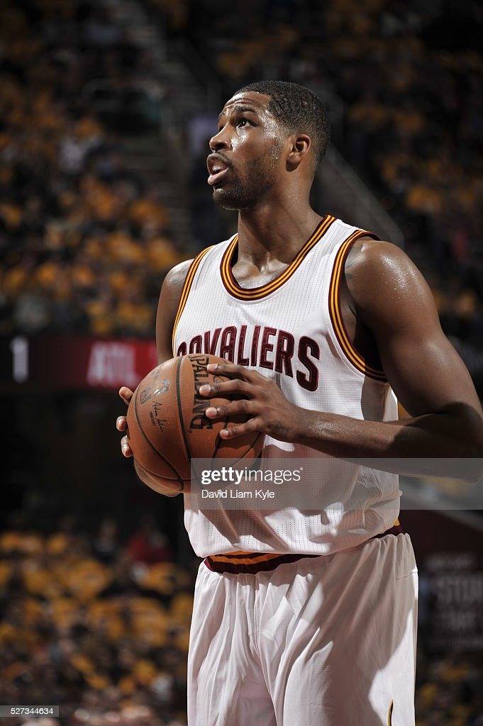 Tristan Thompson #13 of the Cleveland Cavaliers handles the ball against the Atlanta Hawks in Game One of the Eastern Conference Semifinals of the 2016 NBA Playoffs on May 2, 2016 at The Quicken Loans Arena in Cleveland, Ohio.