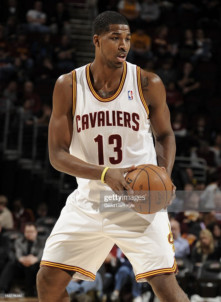 Tristan Thompson #13 of the Cleveland Cavaliers handles the ball during the game between the Cleveland Cavaliers and the Utah Jazz at The Quicken Loans Arena on March 6, 2013 in Cleveland, Ohio.