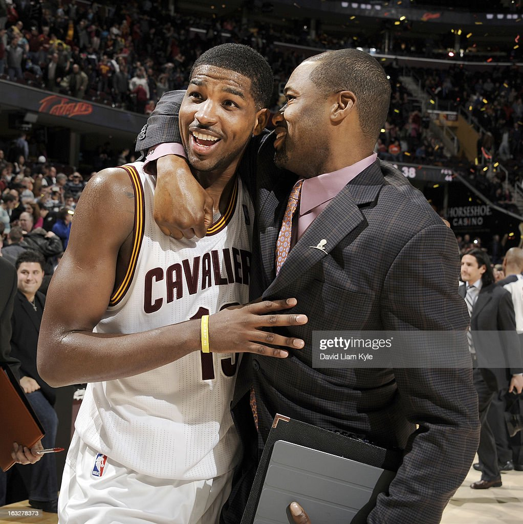 Tristan Thompson #13 of the Cleveland Cavaliers hugs assistant coach Jamahl Mosley following their victory over the Utah Jazz at The Quicken Loans Arena on March 6, 2013 in Cleveland, Ohio.