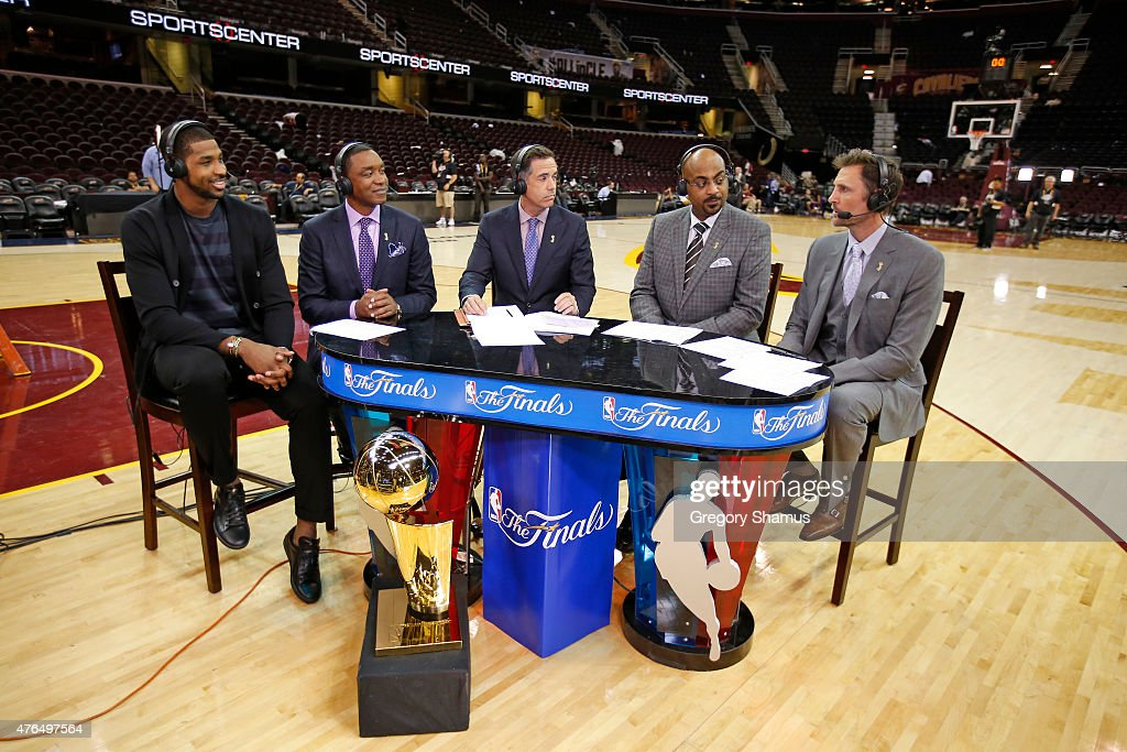 <a gi-track='captionPersonalityLinkClicked' href=/galleries/search?phrase=Tristan+Thompson&family=editorial&specificpeople=5799092 ng-click='$event.stopPropagation()'>Tristan Thompson</a> #13 of the Cleveland Cavaliers is interviewed by NBATV broadcasters <a gi-track='captionPersonalityLinkClicked' href=/galleries/search?phrase=Isiah+Thomas+-+Basketball+Player+-+Born+1961&family=editorial&specificpeople=13827904 ng-click='$event.stopPropagation()'>Isiah Thomas</a>, <a gi-track='captionPersonalityLinkClicked' href=/galleries/search?phrase=Matt+Winer&family=editorial&specificpeople=7033466 ng-click='$event.stopPropagation()'>Matt Winer</a>, <a gi-track='captionPersonalityLinkClicked' href=/galleries/search?phrase=Dennis+Scott+-+Basketball+Player&family=editorial&specificpeople=4515784 ng-click='$event.stopPropagation()'>Dennis Scott</a> and <a gi-track='captionPersonalityLinkClicked' href=/galleries/search?phrase=Brent+Barry&family=editorial&specificpeople=201907 ng-click='$event.stopPropagation()'>Brent Barry</a> after Game Three of the 2015 NBA Finals against the Golden State Warriors on June 9, 2015 at Quicken Loans Arena in Cleveland, Ohio.