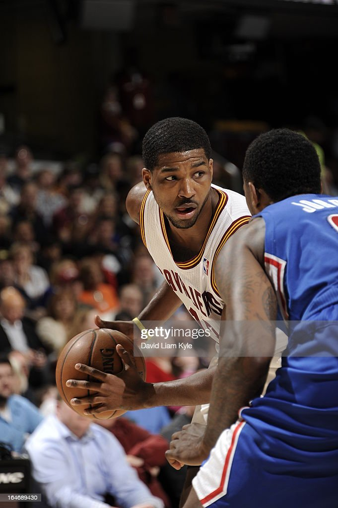 <a gi-track='captionPersonalityLinkClicked' href=/galleries/search?phrase=Tristan+Thompson&family=editorial&specificpeople=5799092 ng-click='$event.stopPropagation()'>Tristan Thompson</a> #13 of the Cleveland Cavaliers looks to drive to the basket against the Los Angeles Clippers at The Quicken Loans Arena on March 1, 2013 in Cleveland, Ohio.