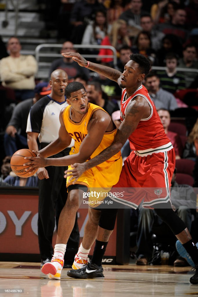 <a gi-track='captionPersonalityLinkClicked' href=/galleries/search?phrase=Tristan+Thompson&family=editorial&specificpeople=5799092 ng-click='$event.stopPropagation()'>Tristan Thompson</a> #13 of the Cleveland Cavaliers looks to pass the ball against the Milwaukee Bucks at The Quicken Loans Arena on January 25, 2013 in Cleveland, Ohio.