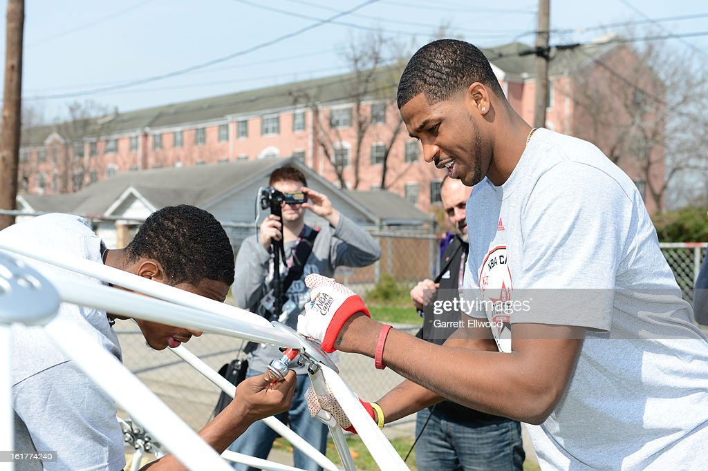 Tristan Thompson #13 of the Cleveland Cavaliers participate at the 2013 NBA Cares Day of Service at the Playground Build with KaBOOM! on February 15, 2013 in Houston, Texas.