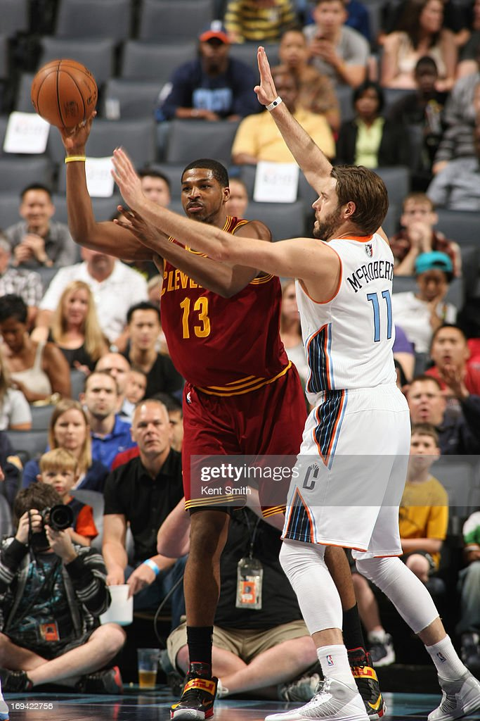 Tristan Thompson #13 of the Cleveland Cavaliers passes the ball against the Charlotte Bobcats at the Time Warner Cable Arena on April 17, 2013 in Charlotte, North Carolina.