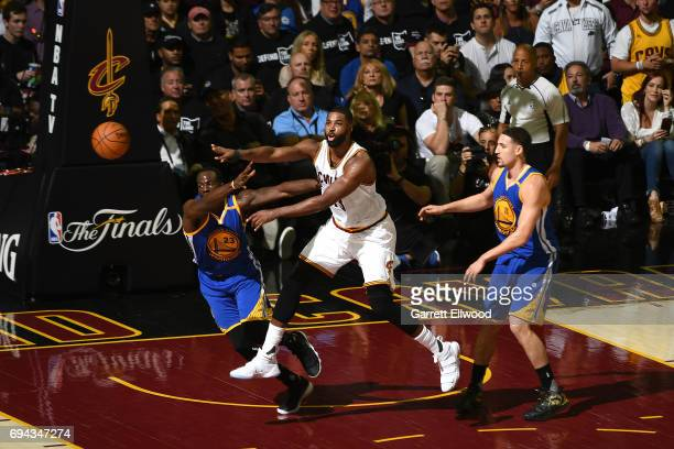 Tristan Thompson of the Cleveland Cavaliers passes the ball against the Golden State Warriors in Game Four of the 2017 NBA Finals on June 9 2017 at...
