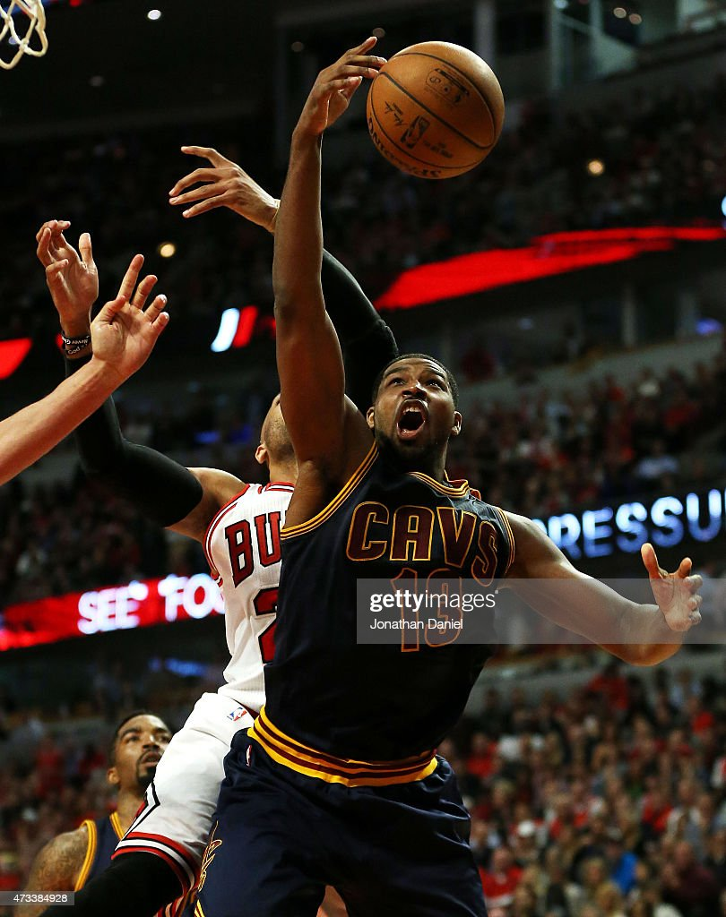 Tristan Thompson #13 of the Cleveland Cavaliers pulls down a rebound against Taj Gibson #22 of the Chicago Bulls in the fourth quarter during Game Six of the Eastern Conference Semifinals of the 2015 NBA Playoffs at United Center on May 14, 2015 in Chicago, Illinois.