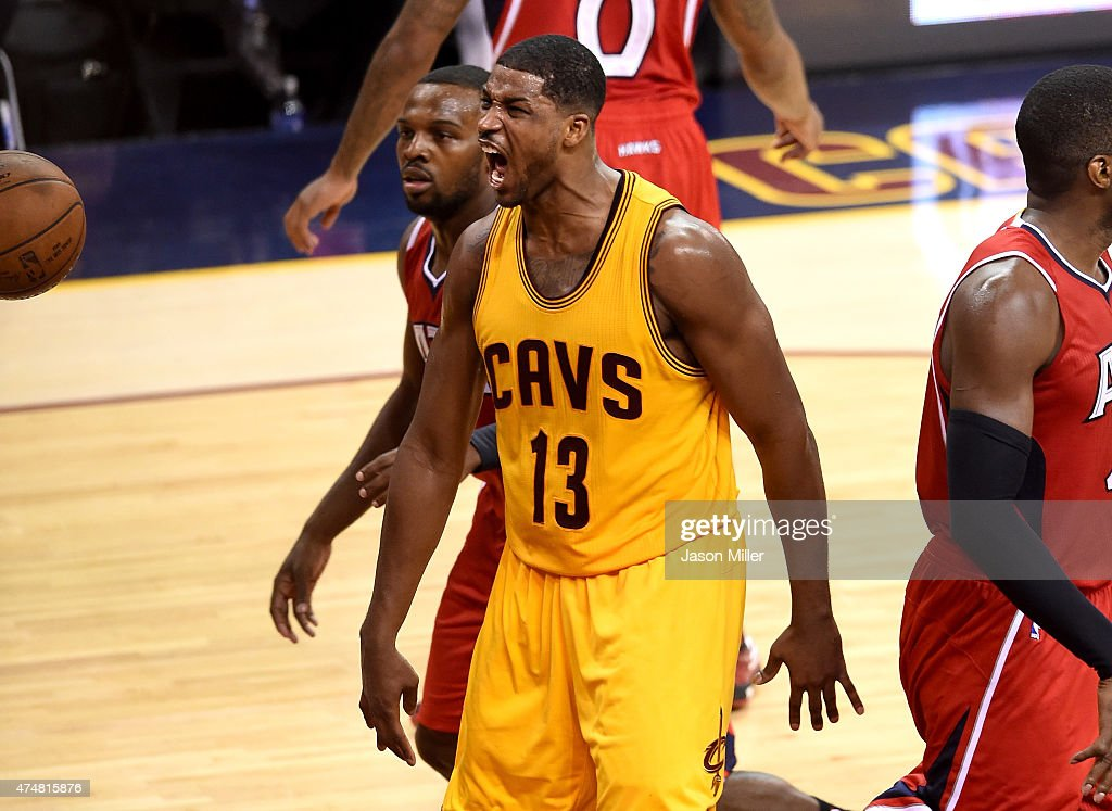 Tristan Thompson #13 of the Cleveland Cavaliers reacts after a dunk in the third quarter against the Atlanta Hawks during Game Four of the Eastern Conference Finals of the 2015 NBA Playoffs at Quicken Loans Arena on May 26, 2015 in Cleveland, Ohio.