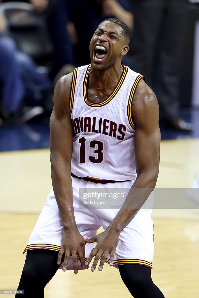Tristan Thompson of the Cleveland Cavaliers reacts after a play in the second quarter against the Toronto Raptors in game one of the Eastern...