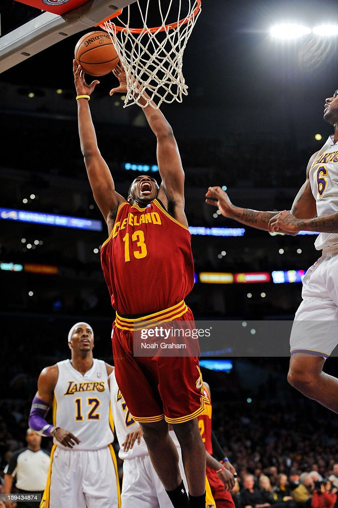 Tristan Thompson #13 of the Cleveland Cavaliers rises for a dunk against the Los Angeles Lakers at Staples Center on January 13, 2013 in Los Angeles, California.