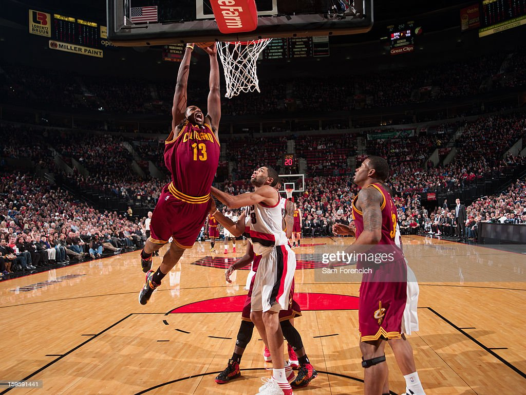 Tristan Thompson #13 of the Cleveland Cavaliers rises for a dunk against the Portland Trail Blazers on January 16, 2013 at the Rose Garden Arena in Portland, Oregon.