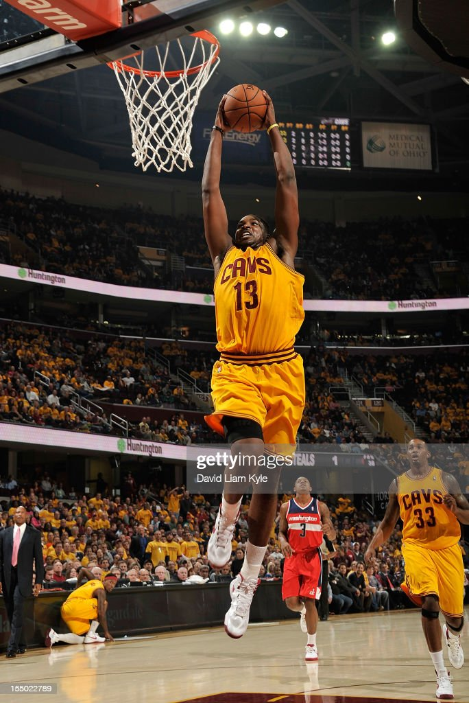 <a gi-track='captionPersonalityLinkClicked' href=/galleries/search?phrase=Tristan+Thompson&family=editorial&specificpeople=5799092 ng-click='$event.stopPropagation()'>Tristan Thompson</a> #13 of the Cleveland Cavaliers rises high for the fast break dunk against the Washington Wizards at The Quicken Loans Arena on October 30, 2012 in Cleveland, Ohio.
