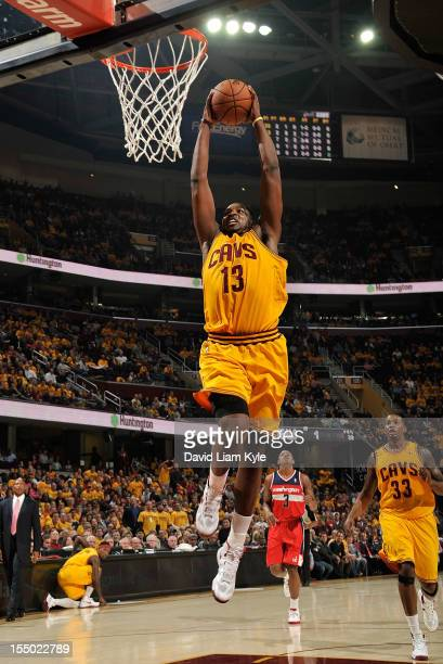 Tristan Thompson of the Cleveland Cavaliers rises high for the fast break dunk against the Washington Wizards at The Quicken Loans Arena on October...