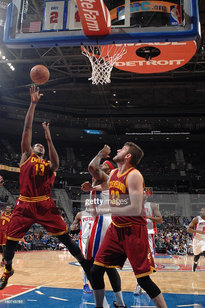 <a gi-track='captionPersonalityLinkClicked' href=/galleries/search?phrase=Tristan+Thompson&family=editorial&specificpeople=5799092 ng-click='$event.stopPropagation()'>Tristan Thompson</a> #13 of the Cleveland Cavaliers shoots against the Detroit Pistons on March 26, 2014 at The Palace of Auburn Hills in Auburn Hills, Michigan.