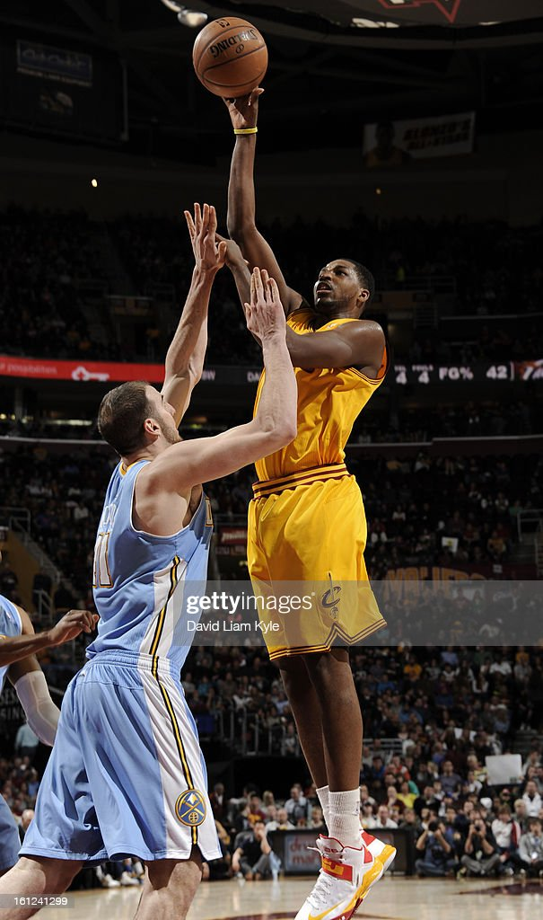 Tristan Thompson #13 of the Cleveland Cavaliers shoots over Kosta Koufos #41 of the Denver Nuggets at The Quicken Loans Arena on February 9, 2013 in Cleveland, Ohio.