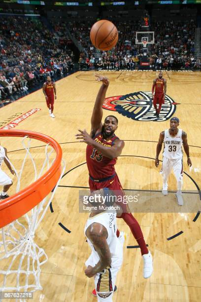 Tristan Thompson of the Cleveland Cavaliers shoots the ball against the New Orleans Pelicans on October 28 2017 at the Smoothie King Center in New...