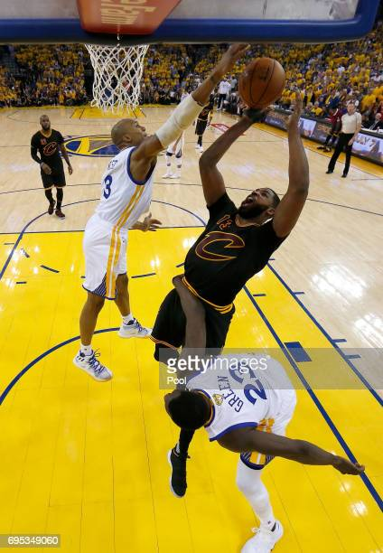 Tristan Thompson of the Cleveland Cavaliers throws up a shot against David West of the Golden State Warriors in Game 5 of the 2017 NBA Finals at...