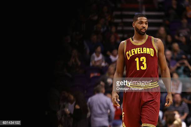 Tristan Thompson of the Cleveland Cavaliers walks on the court during the first half of the NBA game against the Phoenix Suns at Talking Stick Resort...